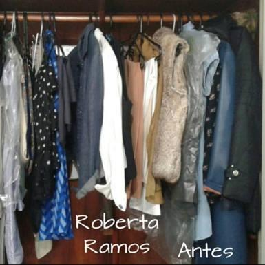 Organização de guarda roupa antes