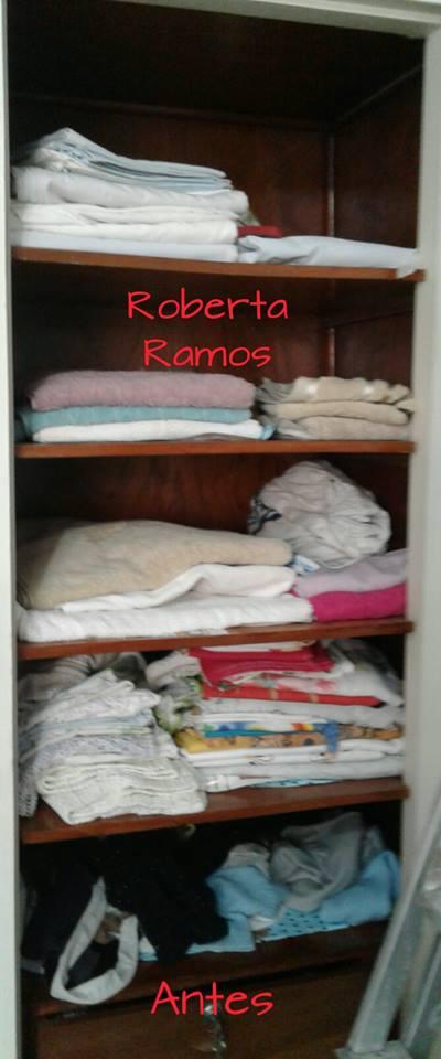 Organização de armário de cama, mesa e banho - antes